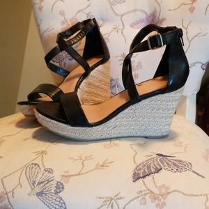 Black and Woven Bottom Wedges